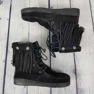 MINNETONKA | lined fringe lace up tramper boot